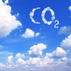 Collage - symbol CO2 from clouds